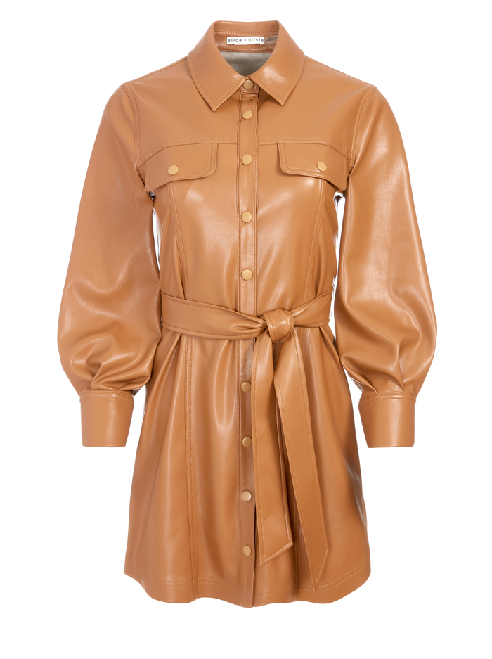 MIRANDA VEGAN TIE WAIST MINI DRESS - CAMEL - Alice And Olivia