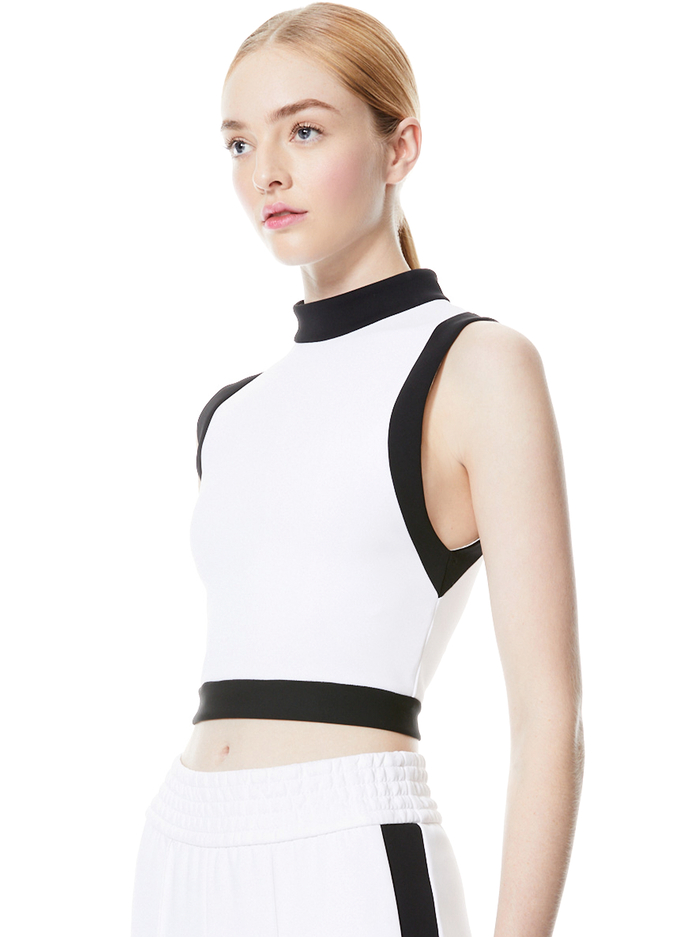 MORY COLOR BLOCK CROP TOP - OFF WHITE/BLACK - Alice And Olivia