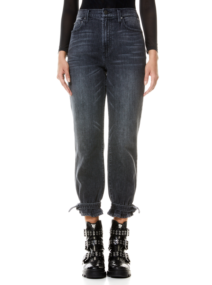 AMAZING HIGH RISE TIE PANT - ROGUE - Alice And Olivia
