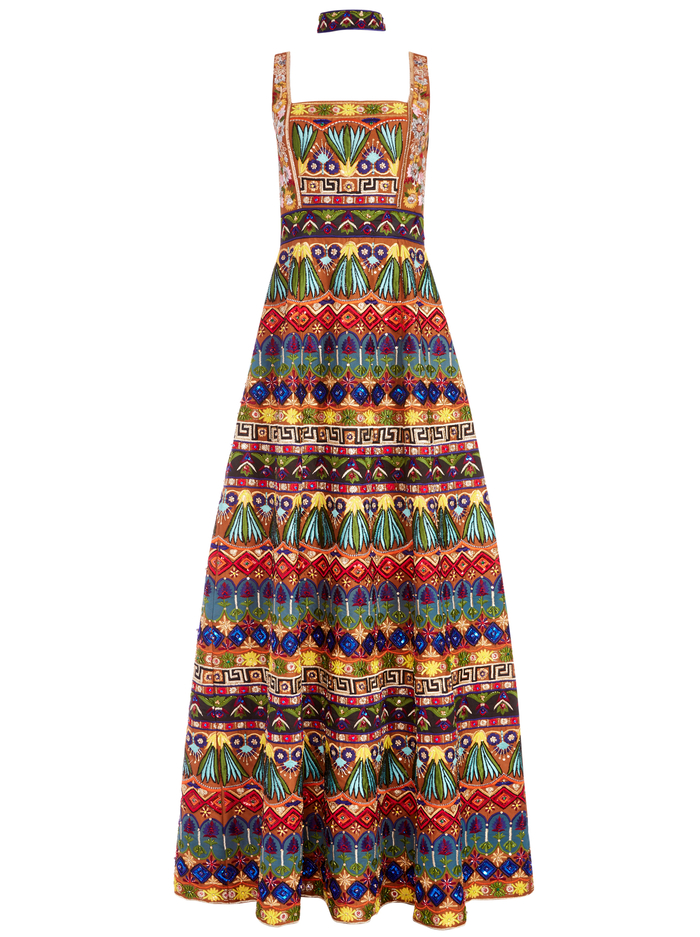 MARCIELA BEADED GOWN WITH CHOKER - BROWN MULTI - Alice And Olivia