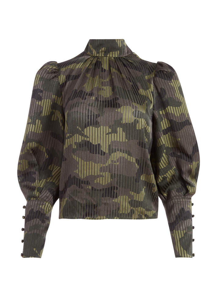 WINSLET CUFF SLEEVE CAMO BLOUSE - CAMO GIRL - Alice And Olivia