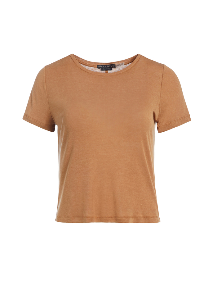 CINDY CLASSIC CROPPED TEE - CAMEL - Alice And Olivia