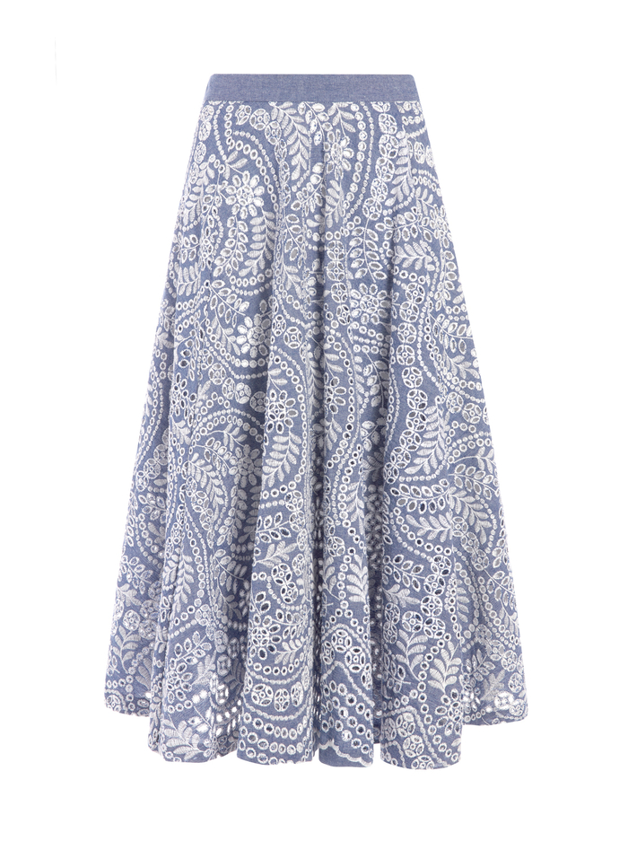 PARCELL PAISLEY FLARED MIDI SKIRT - CHAMBRAY - Alice And Olivia