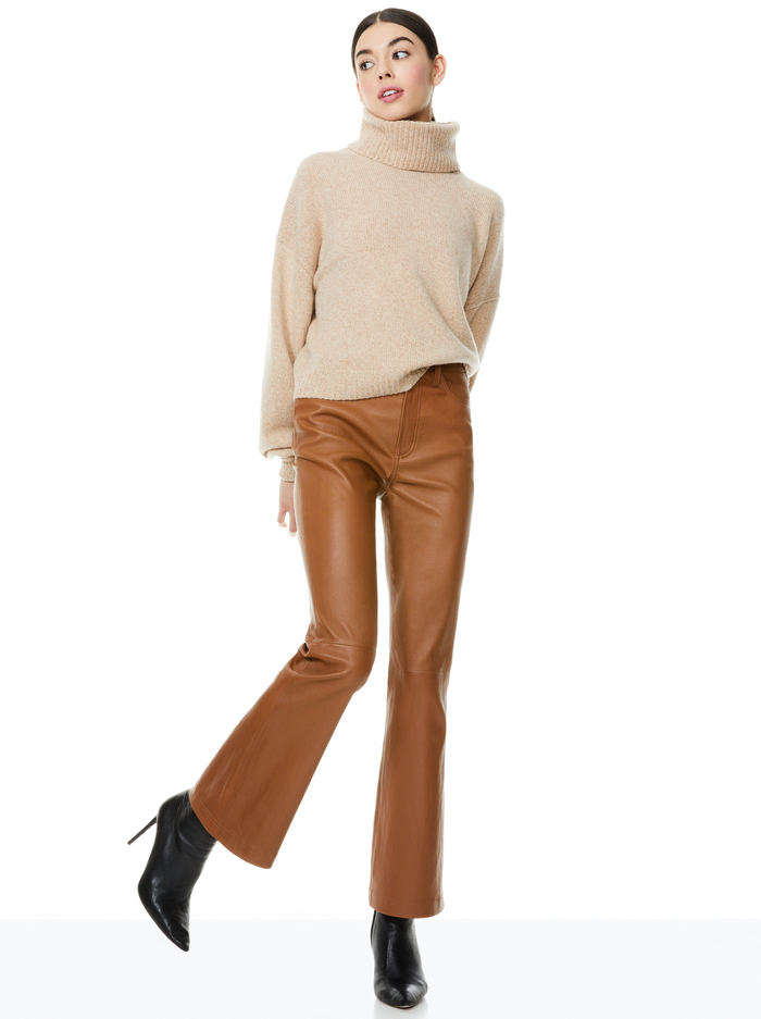 MARSHALL HIGH RISE LEATHER BELL - CAMEL - Alice And Olivia