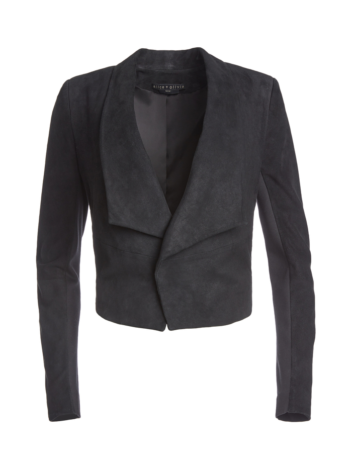 HARVEY OPEN FRONT SUEDE JACKET - BLACK - Alice And Olivia