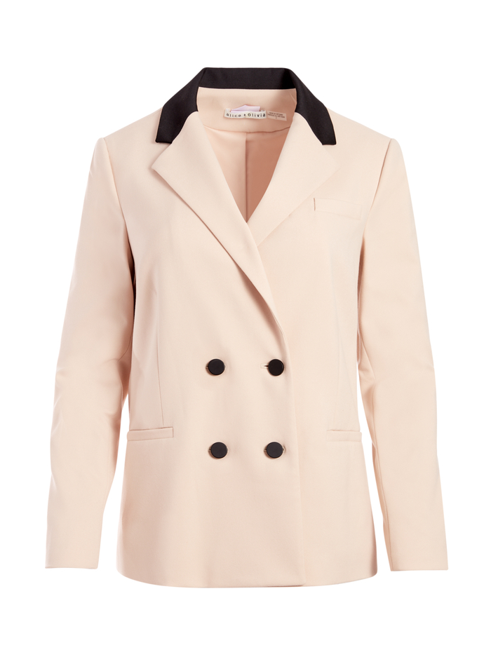 BERGEN DOUBLE BREASTED BLAZER - SEPIA/BLACK - Alice And Olivia