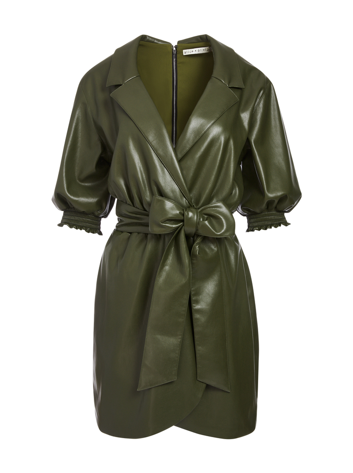 MAUREEN VEGAN LEATER MINI DRESS - OLIVE - Alice And Olivia