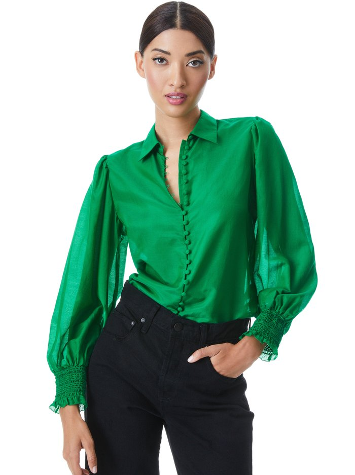 JOEY BUTTON FRONT BLOUSE - DARK EMERALD - Alice And Olivia