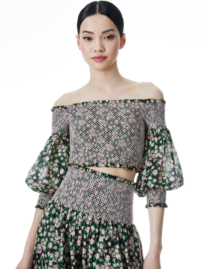 CANDRA OFF THE SHOULDER CROP TOP - MONTEREY DITSY BLACK - Alice And Olivia