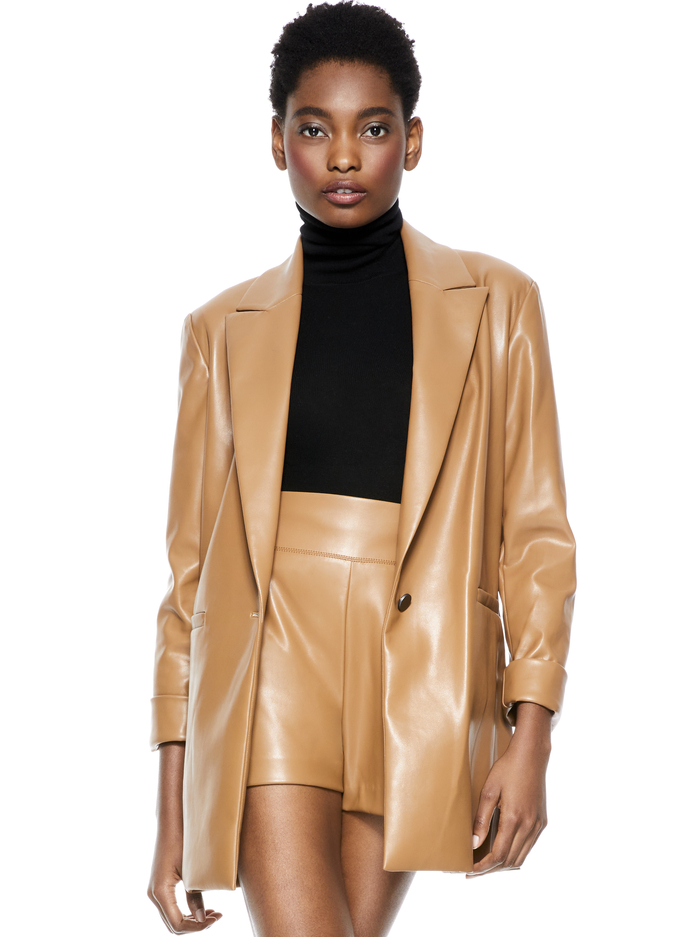 DUNN ROLL CUFF VEGAN LEATHER BLAZER - CAMEL - Alice And Olivia