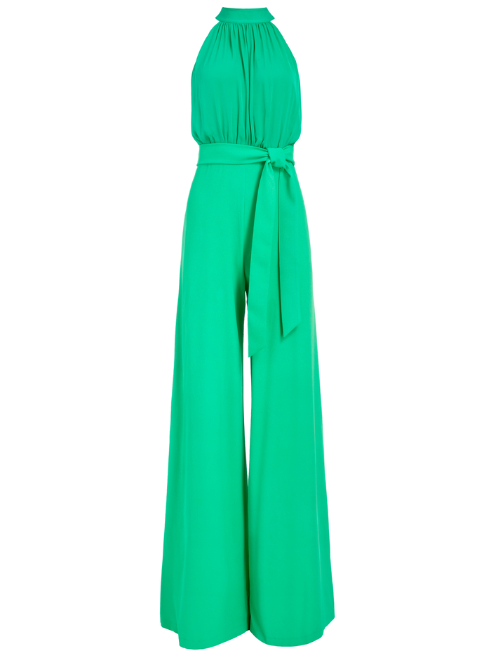 THELMA HALTER NECK JUMPSUIT - MINT KELLY - Alice And Olivia