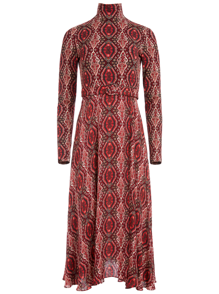 CLARE TURTLENECK MIDI DRESS - DIAMOND MAGIC BORDEAUX - Alice And Olivia