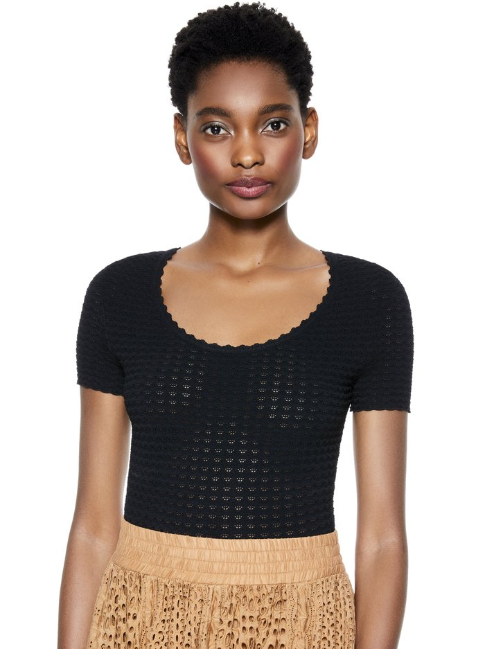 CIARA SCOOP NECK CROPPED SWEATER - BLACK - Alice And Olivia