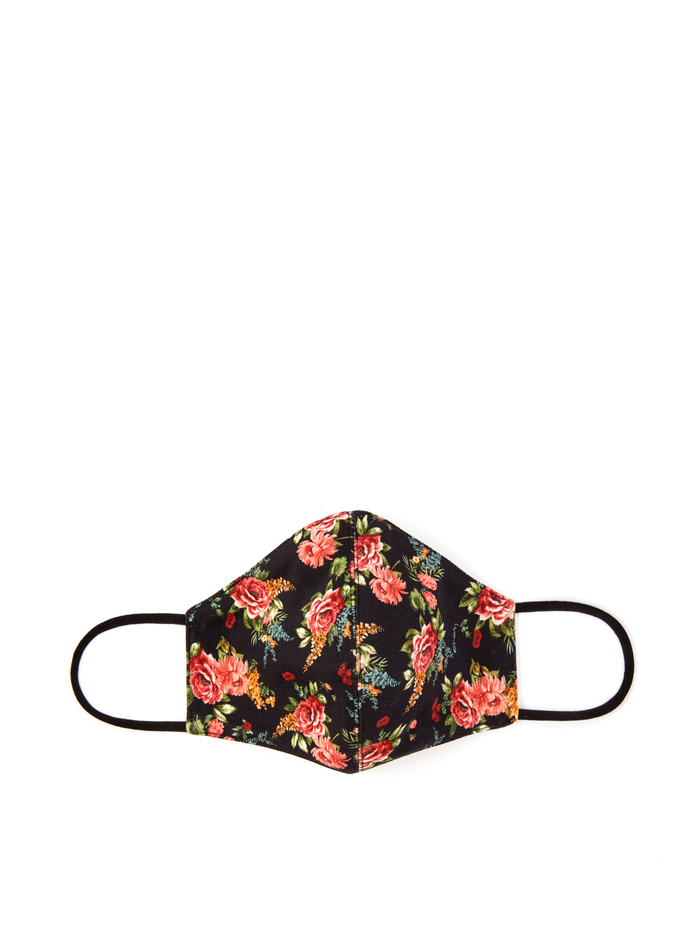 ABBI STRUCTURED FACE MASK - FLORAL EXPRESS SM BLACK - Alice And Olivia