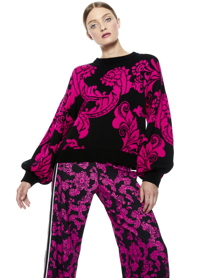 CARWEN BLOUSON SLEEVE PULLOVER - BLACK/WILD PINK COMBO - Alice And Olivia
