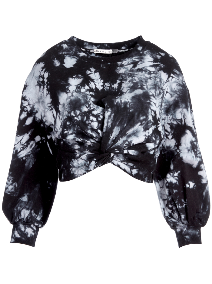 MARCELLE TIE DYE TOP - BLACK/WHITE - Alice And Olivia