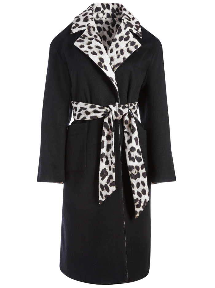 TOMIKO REVERSIBLE SWEATER COAT - ROYAL LEOPARD LG BLK/BLK - Alice And Olivia