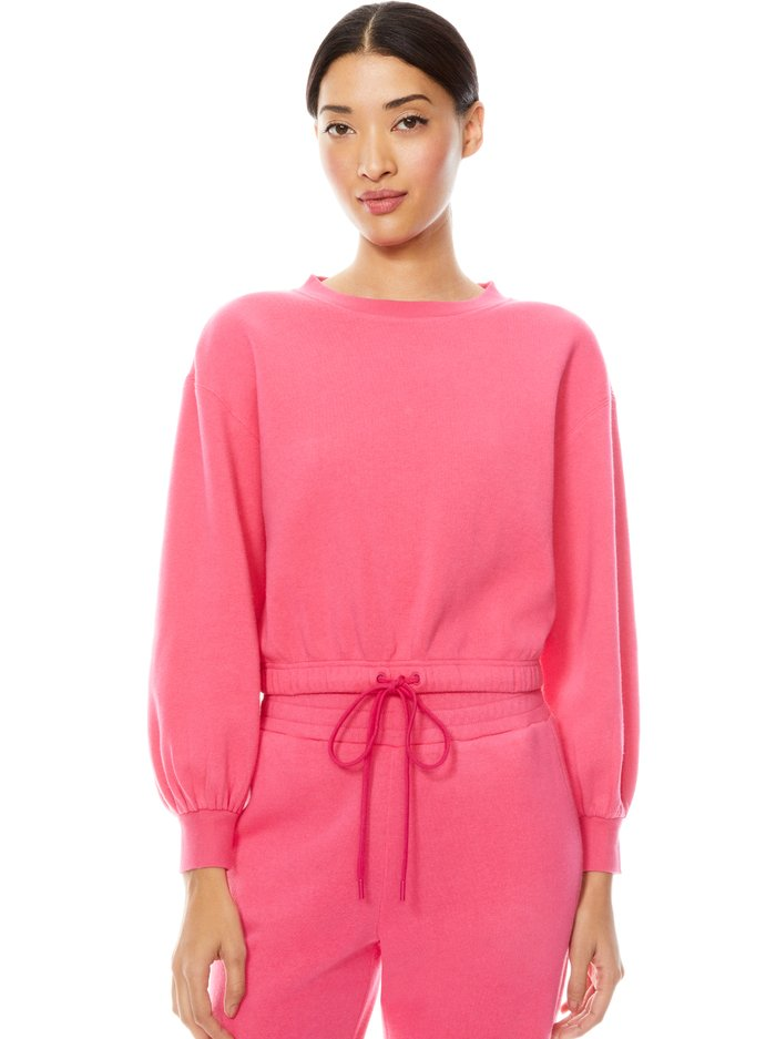 BERNETTA PULLOVER WITH DRAWSTRING - WILD PINK - Alice And Olivia