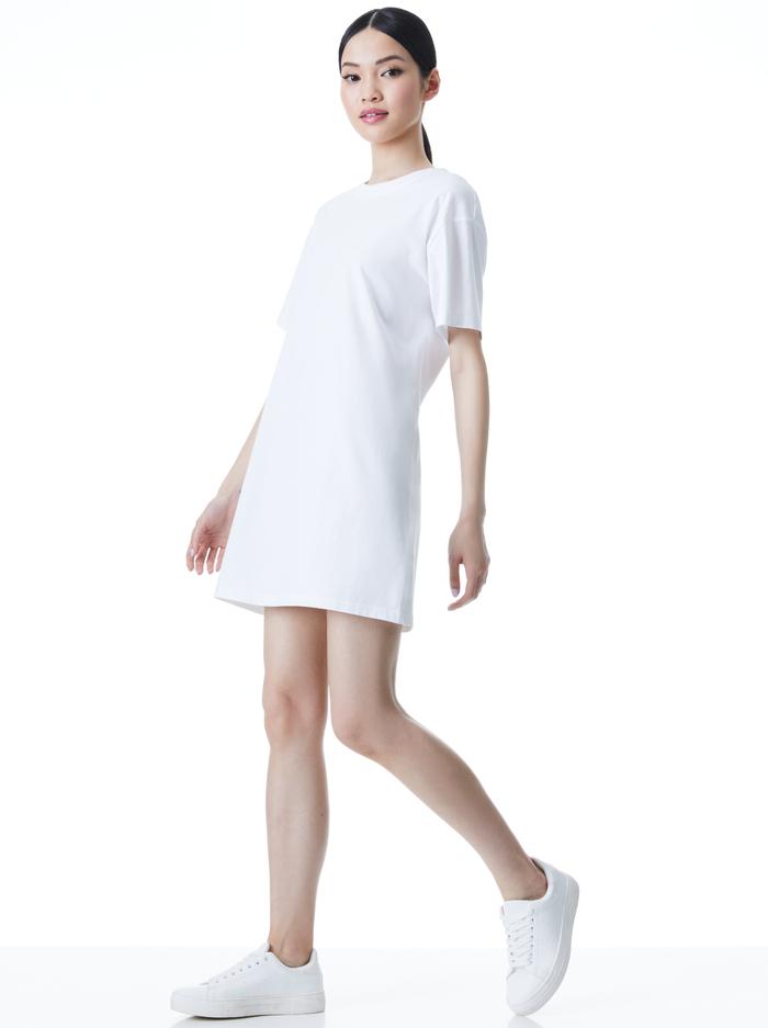 GARNER T SHIRT DRESS - WHITE - Alice And Olivia