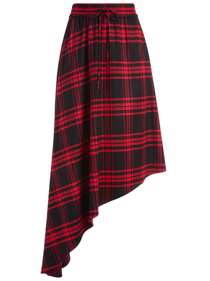 NATALINA ASYMMETRICAL MIDI SKIRT - ALPINE PLAID LG SCARLET - Alice And Olivia