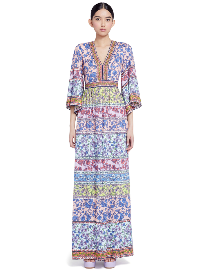 LENA EMBROIDERED KIMONO DRESS - DITSY BORDER MULTI - Alice And Olivia