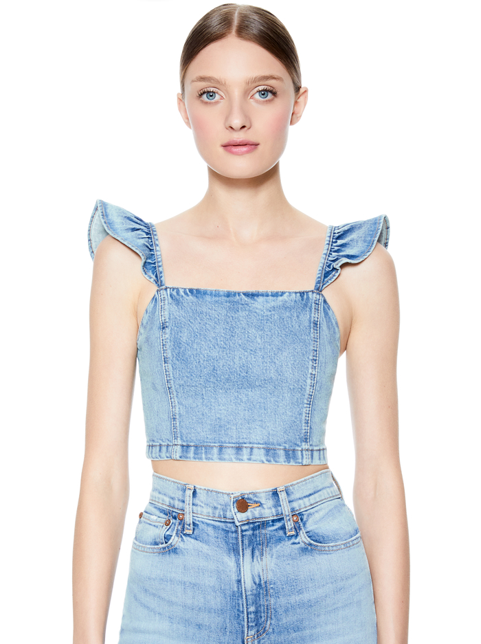 KILEY FLUTTER SLEEVE CROP TOP - NOT YOURS - Alice And Olivia