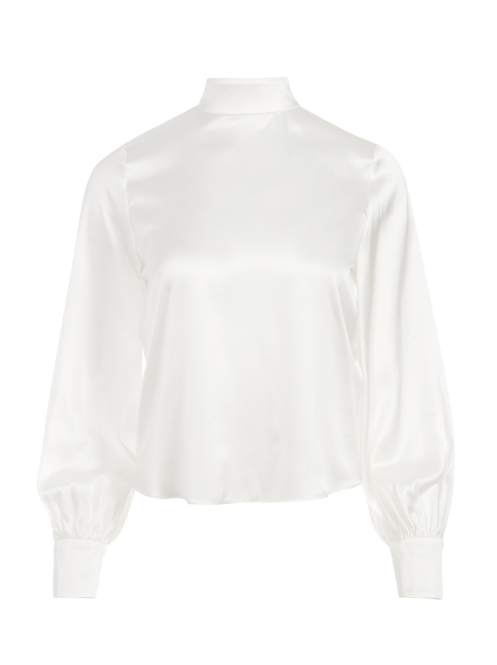 ASH TIE BACK BLOUSE - OFF WHITE - Alice And Olivia