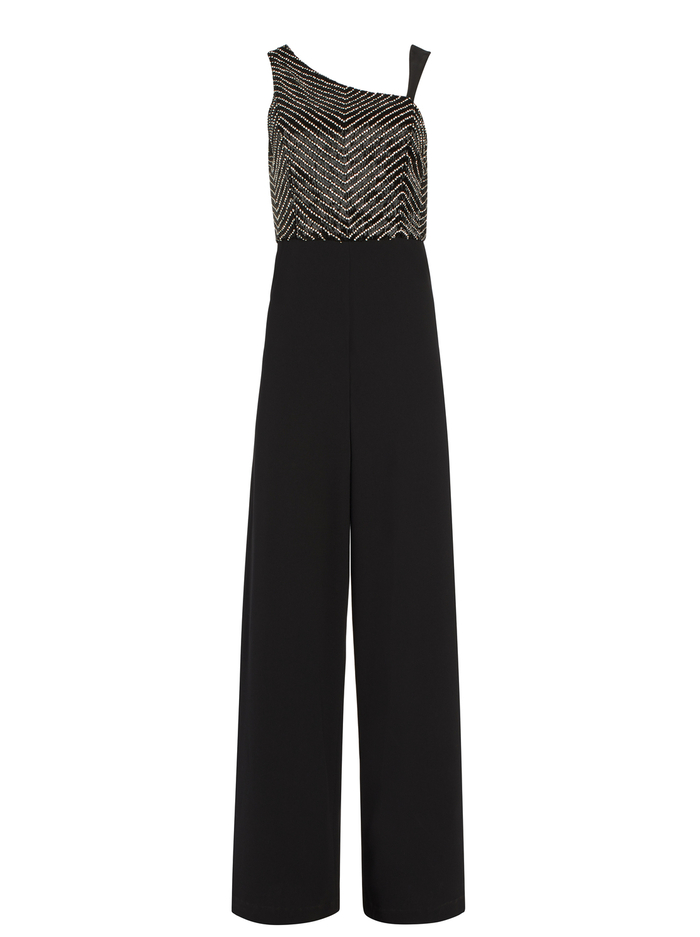 LINA CRYSTAL JUMPSUIT WITH LEATHER - BLACK - Alice And Olivia